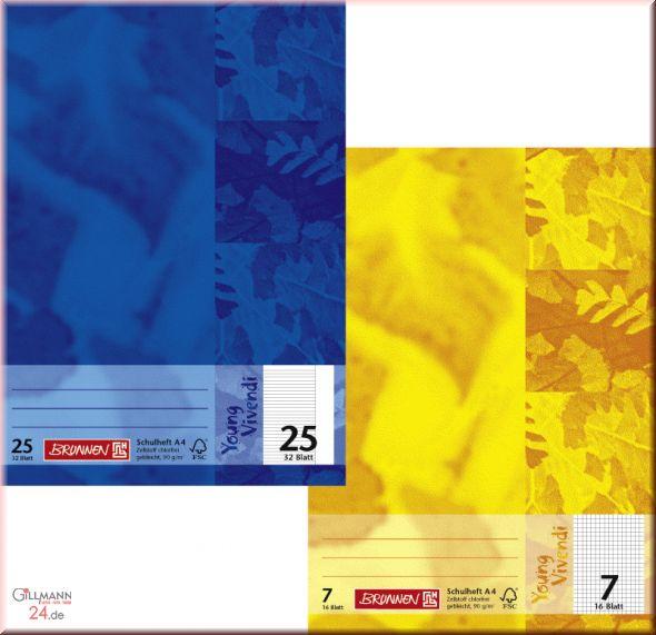 2 x Schulheft Premium A5 Lineatur 27 Brunnen Young Vivendi  90g//m²